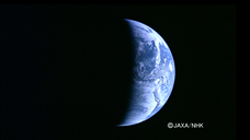 Crescent Earth by the High Definition Television (HDTV)